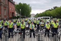 The number of police escorts for the white nationalists in D.C. far outnumbered the actual white nationalists. (Courtesy Wilson Dizard)