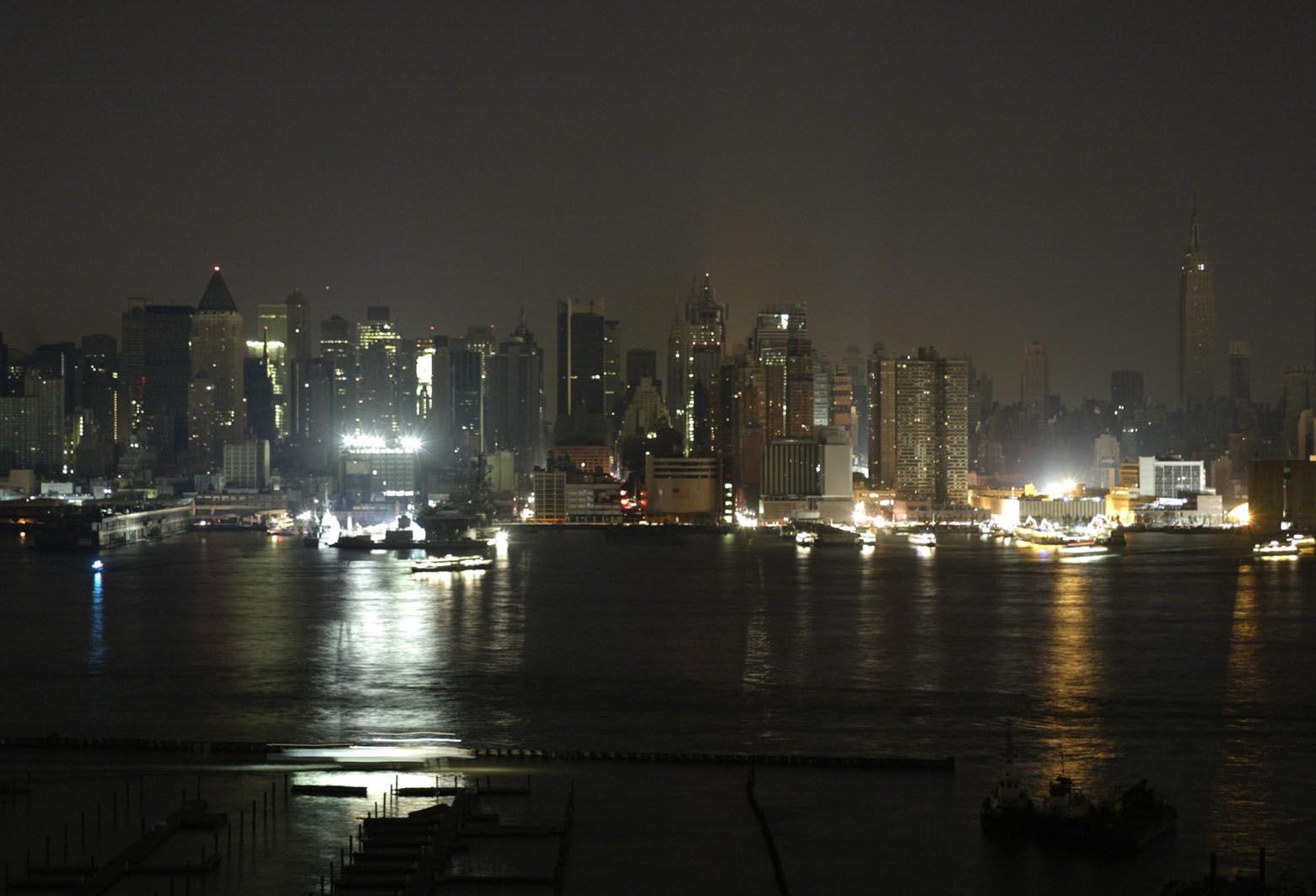 A view of the Upper West side of Manhattan is seen from  Weehawken, N.J., Thursday, Aug. 14, 2003. A massive power blackout hit U.S. and Canadian cities Thursday. (AP Photo/George Widman)
