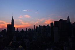 The New York City skyline is shown Thursday, Aug. 14, 2003. A massive power outage struck the eastern United States and parts of Canada on Thursday afternoon, stranding people in sweltering subways and sending office workers streaming into the streets in 90-degree heat. (AP Photo/Frank Franklin II)