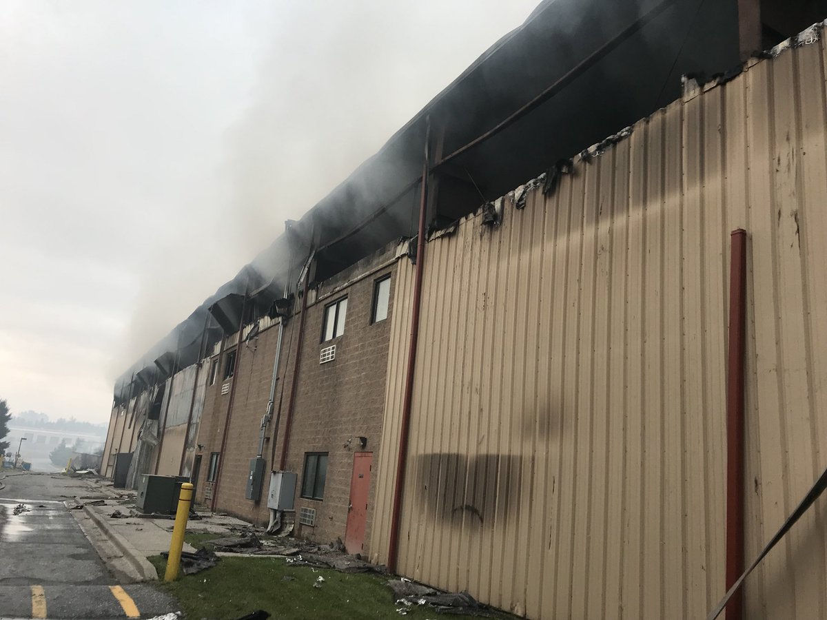 Battling the large fire, which broke out about 3 a.m. Wednesday, proved challenging in part because of limited water sources at the scene to battle the blaze. Firefighters hope to fully extinguish the fire by Friday. (Courtesy Montgomery County Fire and Rescue Service)