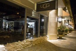 HONOLULU, HI - AUGUST 23: 2018   Ugg had the largest amount of sand bags to protect their Kalakaua Avenue store from flooding as any of the other stores as Hurricane Lane approaches Waikiki Beach on Thursday, August 23, 2018 in Honolulu, Hi.   (Photo by Kat Wade/Getty Images)