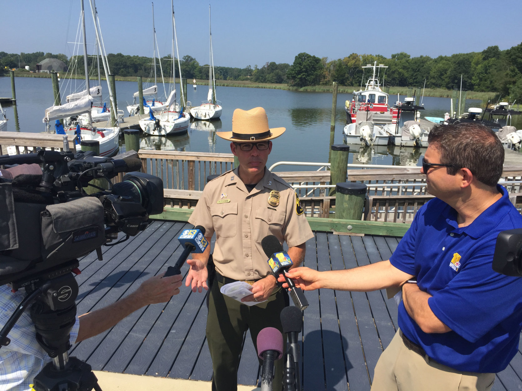 Brian Rathgeb, with Maryland Natural Resources Police, said even experienced swimmers need to be aware of strong currents when swimming in the Chesapeake Bay. (WTOP/Kristi King)