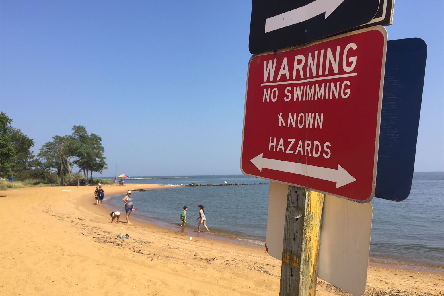 The 12-year-old Baltimore girl whose body was pulled from the Chesapeake Bay Tuesday was in an area of Sandy Point Park restricted to swimming when she was overcome by a strong current, Maryland Natural Resources Police say. (WTOP/Kristi King)