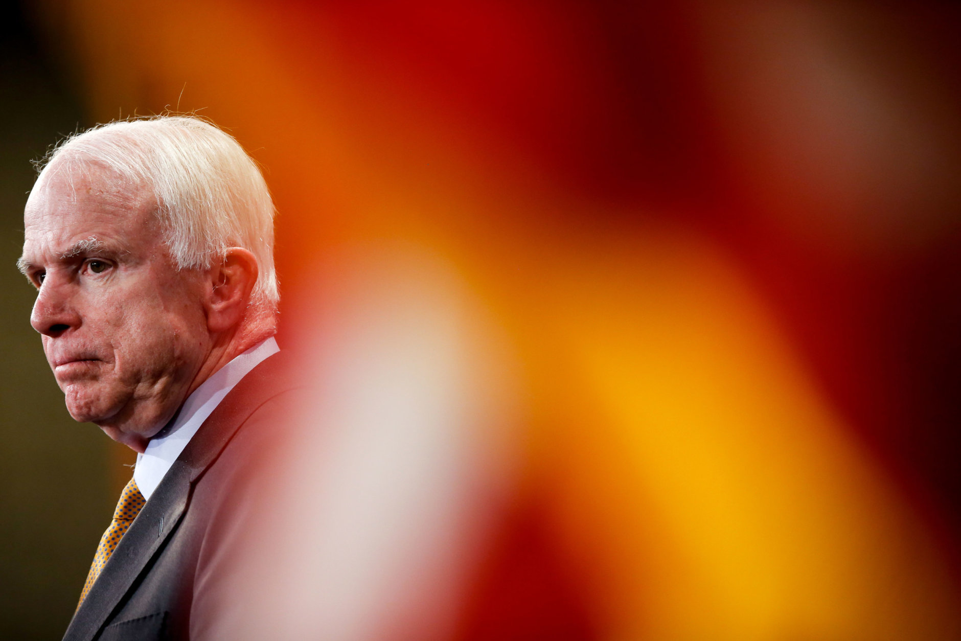 Sen. John McCain, R-Ariz., during a press conference on Capitol Hill in Washington on Thursday, March 26, 2015, on the situation in Yemen. (AP Photo/Andrew Harnik)