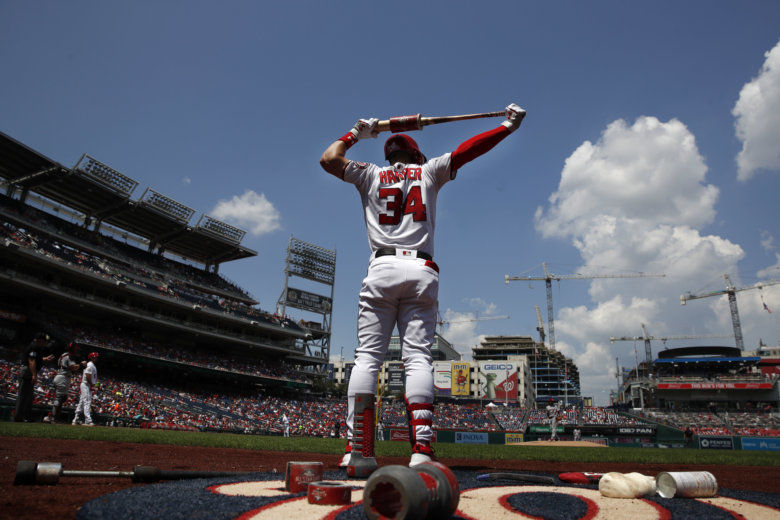 464c68969ba Washington Nationals right fielder Bryce Harper (34) warms up before  batting in the first inning of a baseball game against the Cincinnati Reds  at.