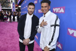 "Vinny Guadagnino, left, and Paul ""DJ Pauly D"" DelVecchio arrive at the MTV Video Music Awards at Radio City Music Hall on Monday, Aug. 20, 2018, in New York. (Photo by Charles Sykes/Invision/AP)"