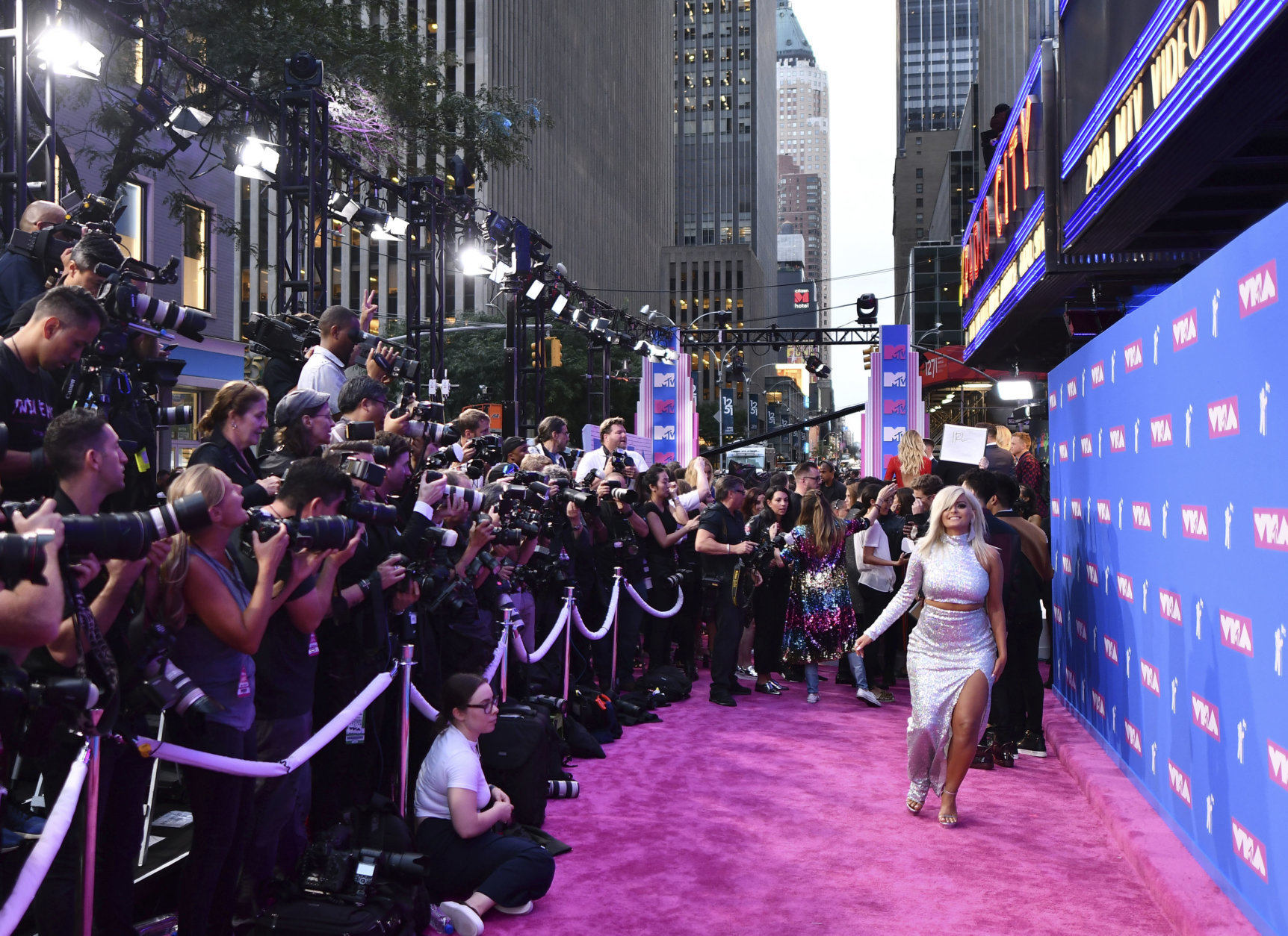 Bebe Rexha arrives at the MTV Video Music Awards at Radio City Music Hall on Monday, Aug. 20, 2018, in New York. (Photo by Charles Sykes/Invision/AP)