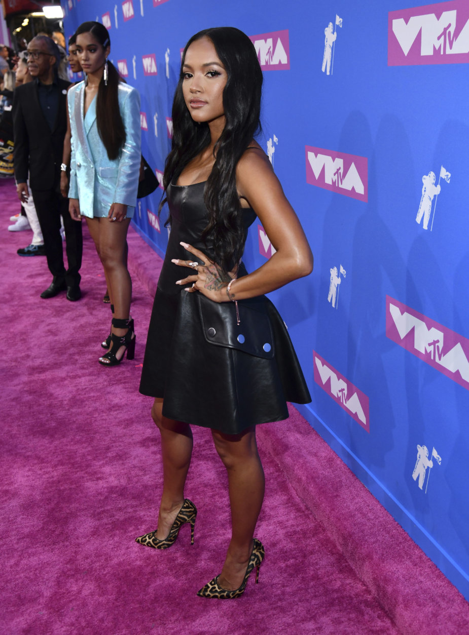 Karrueche Tran arrives at the MTV Video Music Awards at Radio City Music Hall on Monday, Aug. 20, 2018, in New York. (Photo by Charles Sykes/Invision/AP)