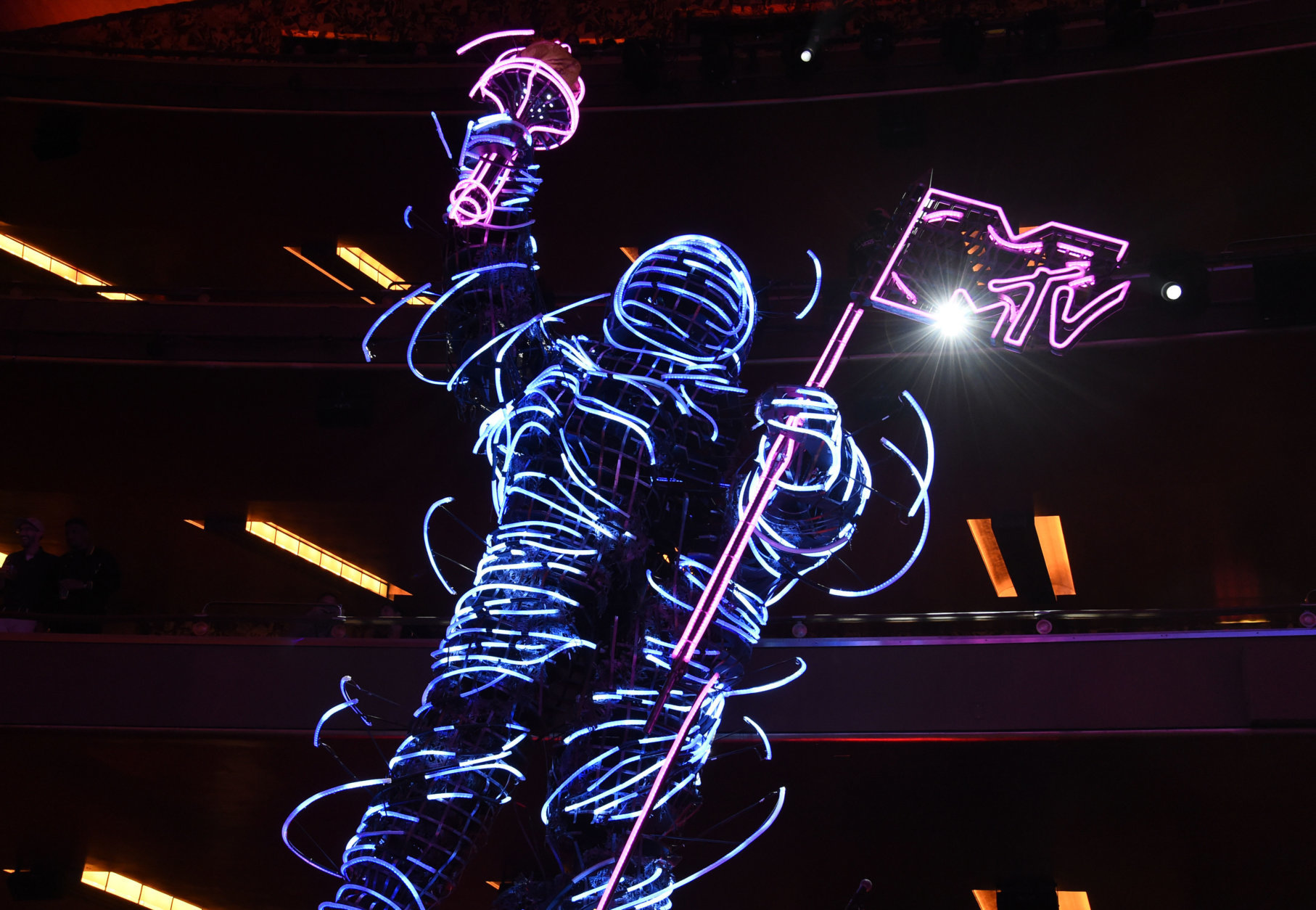 A view of a neon Moon Man appears at the MTV Video Music Awards at Radio City Music Hall on Monday, Aug. 20, 2018, in New York. (Photo by Chris Pizzello/Invision/AP)
