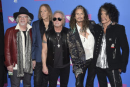 Brad Whitford, from left, Tom Hamilton, Joey Kramer, Steven Tyler and Joe Perry of Aerosmith arrive at the MTV Video Music Awards at Radio City Music Hall on Monday, Aug. 20, 2018, in New York. (Photo by Evan Agostini/Invision/AP)