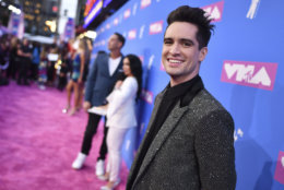 Brendon Urie arrives at the MTV Video Music Awards at Radio City Music Hall on Monday, Aug. 20, 2018, in New York. (Photo by Charles Sykes/Invision/AP)