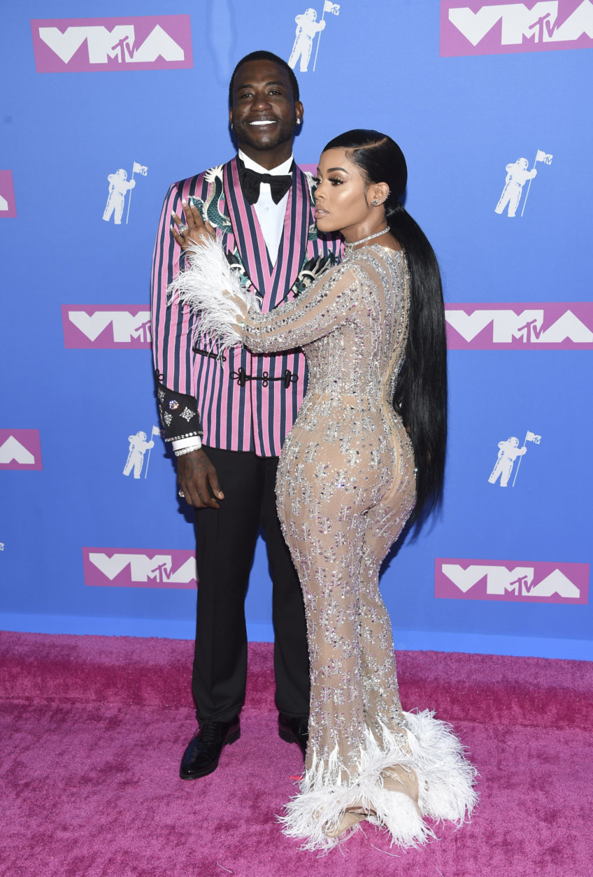 Gucci Mane, left, and Keyshia Ka'Oir arrives at the MTV Video Music Awards at Radio City Music Hall on Monday, Aug. 20, 2018, in New York. (Photo by Evan Agostini/Invision/AP)