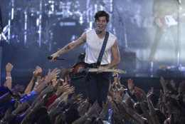 "Shawn Mendes performs ""In My Blood"" onstage at the MTV Video Music Awards at Radio City Music Hall on Monday, Aug. 20, 2018, in New York. (Photo by Chris Pizzello/Invision/AP)"