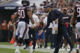Chicago Bears head coach Matt Nagy during the first half of a preseason NFL football game against the Kansas City Chiefs Saturday, Aug. 25, 2018, in Chicago. (AP Photo/Nam Y. Huh)
