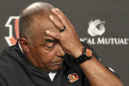 Cincinnati Bengals head coach Marvin Lewis reacts during a news conference after an NFL preseason football game against the Indianapolis Colts, Thursday, Aug. 30, 2018, in Cincinnati. (AP Photo/Gary Landers)