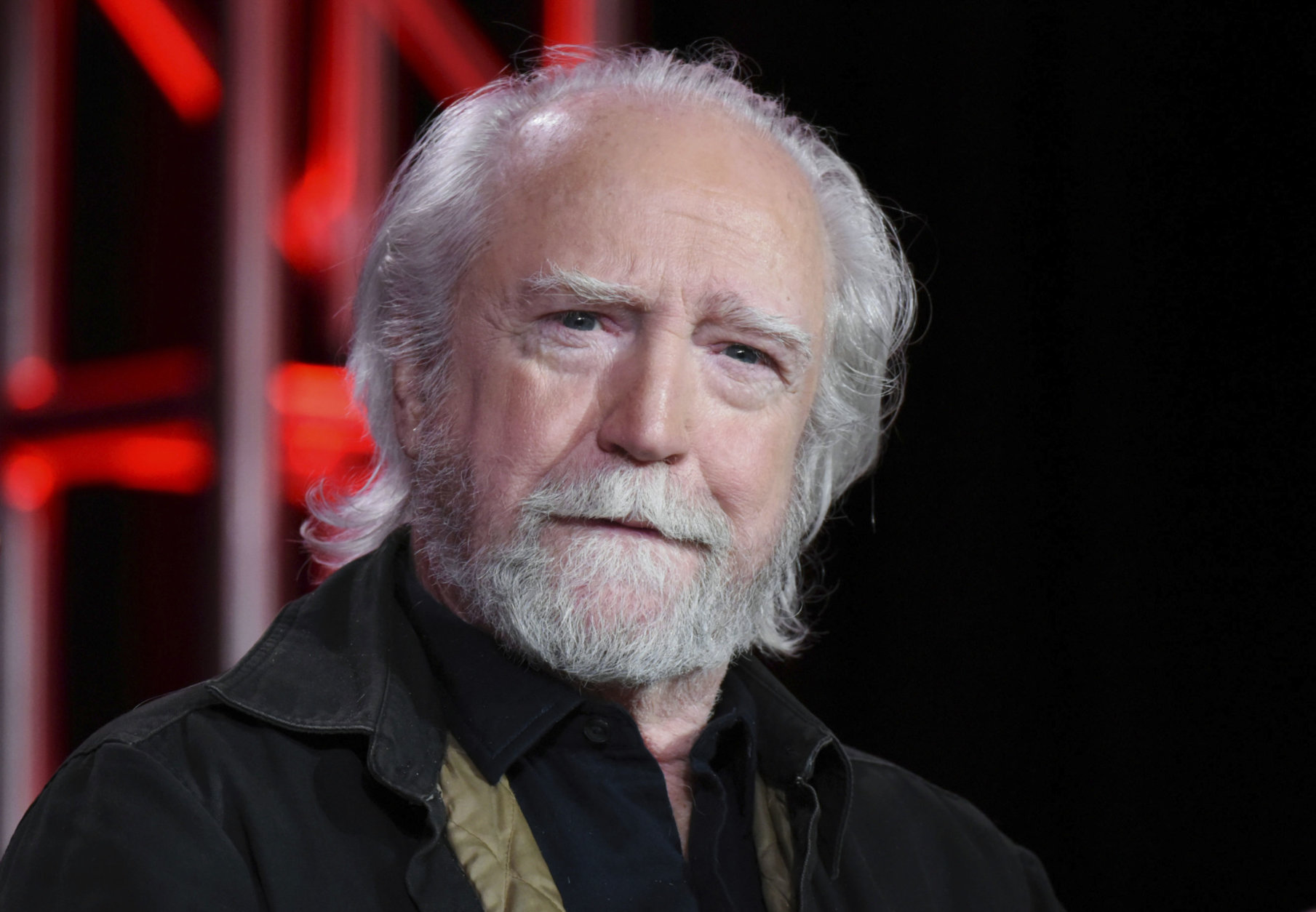 "FILE - In this Jan. 6, 2016, file photo, Scott Wilson appears during the ""Damien"" panel at the A&E 2016 Winter TCA in Pasadena, Calif. Wilson, who played the murderer Robert Hickock in 1967's ""In Cold Blood"" and was a series regular on ""The Walking Dead,"" has died. He was 76. AMC, the show's network, announced Wilson's death Saturday, Oct. 6, 2018. (Photo by Richard Shotwell/Invision/AP, File)"