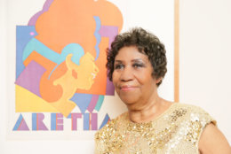 Aretha Franklin  with  her  Portrait at the  American Portrait Gala in 2015. (Courtesy  of  Angela  Pham  BFA)