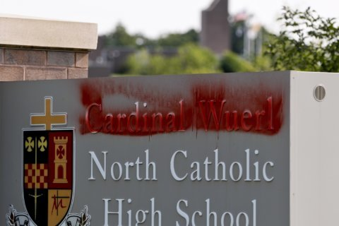 Pa. high school named for Cardinal Wuerl defaced with red paint