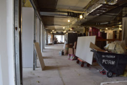 Here's a glimpse of the area where the WTOP newsroom will be, starting from the digital desk. (WTOP/Teta Alim)