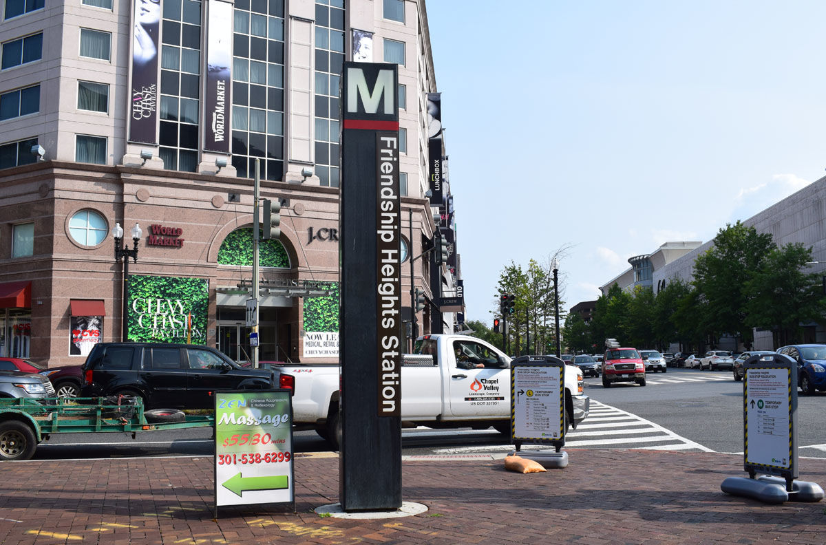 The new WTOP office space is right by the Friendship Heights Metro station, which is on the Red Line. (WTOP/Teta Alim)