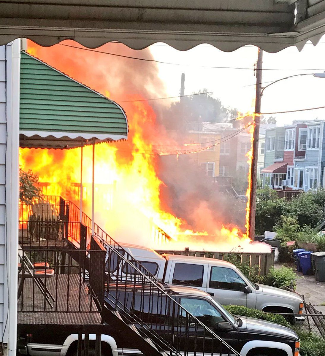The home to the right of where the fire originated also suffered damages. (Courtesy D.C. Fire and EMS)