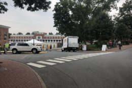 """A security checkpoint is seen for Saturday morning's """"The Hope that Summons Us"""" event at the University of Virginia. It comes one year after white supremacists marched through the Grounds with tiki torches, and a day before anniversary of Heather Heyer's death. (WTOP/Max Smith)"""