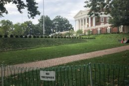 "A ""No Trespassing"" sign surrounds the area by the University of Virginia's rotunda. (WTOP/Max Smith)"
