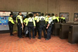 Metro officials, local police and union representatives were present at Metro's Vienna station Sunday morning. (WTOP/Max Smith)