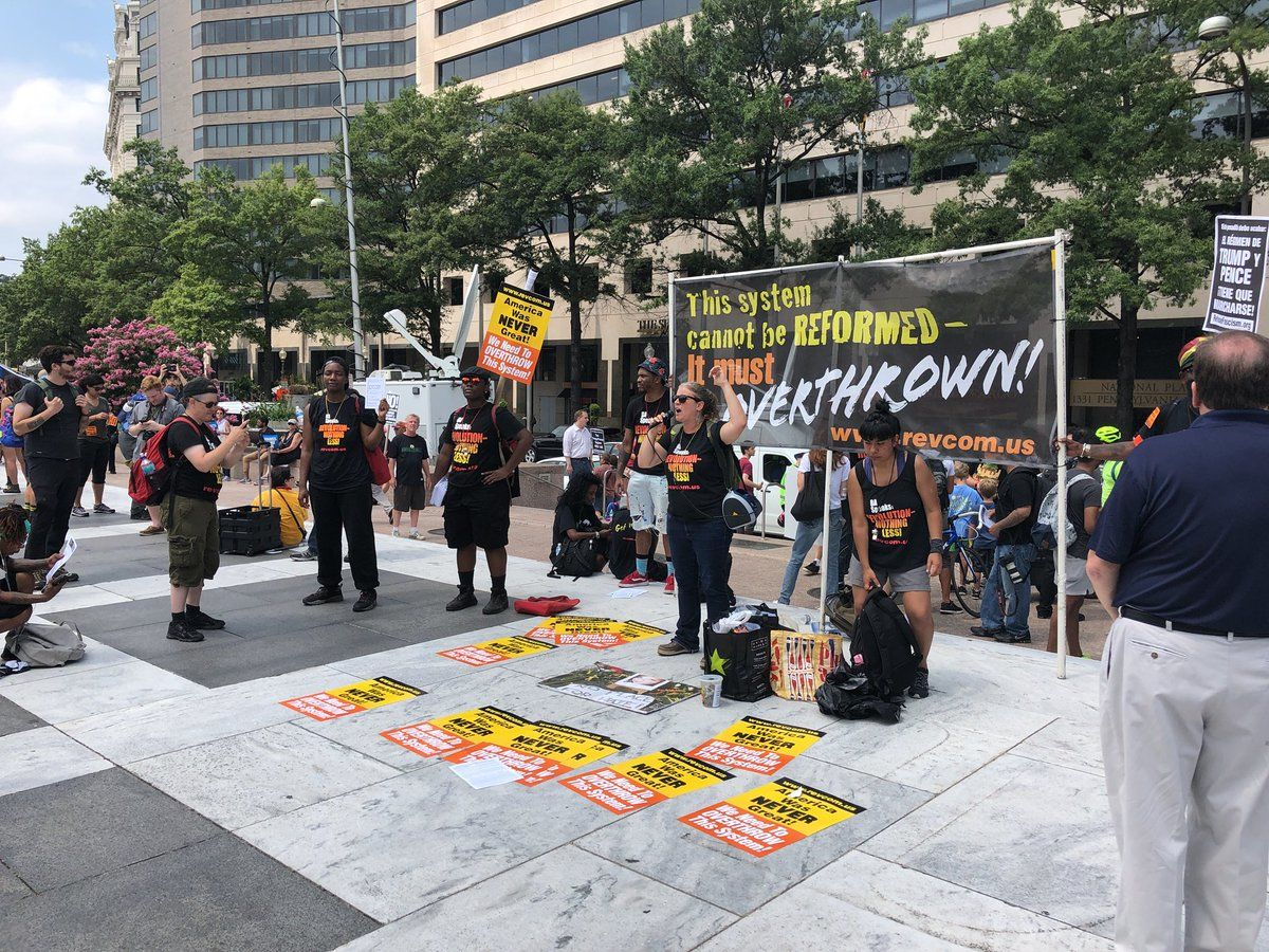 One of the many groups at Freedom Plaza for anti-hate rally ahead of a march to Lafayette Square on Sunday, Aug. 12. (WTOP/Keara Dowd)