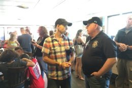 The Pier Oyster Bar and Grill in Edgewater was packed with family, coworkers and many more, including Gov. Larry Hogan. (WTOP/Liz Anderson)