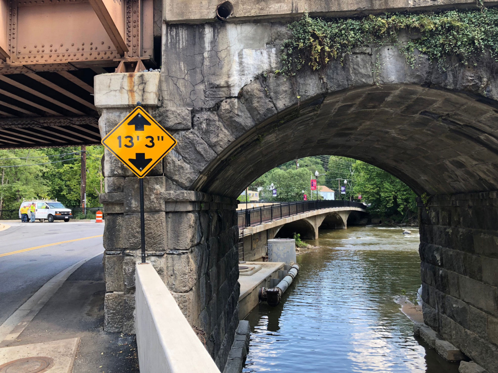 Ellicott City is at the convergence point of multiple waterways, and stream channels run under streets and buildings. (WTOP/John Aaron)