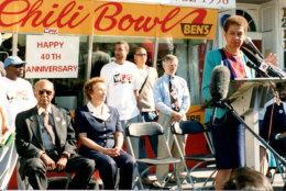 D.C. Del. Eleanor Holmes Norton speaks at Ben's 40th anniversary, in 2008. (Courtesy Ben's Chili Bowl)