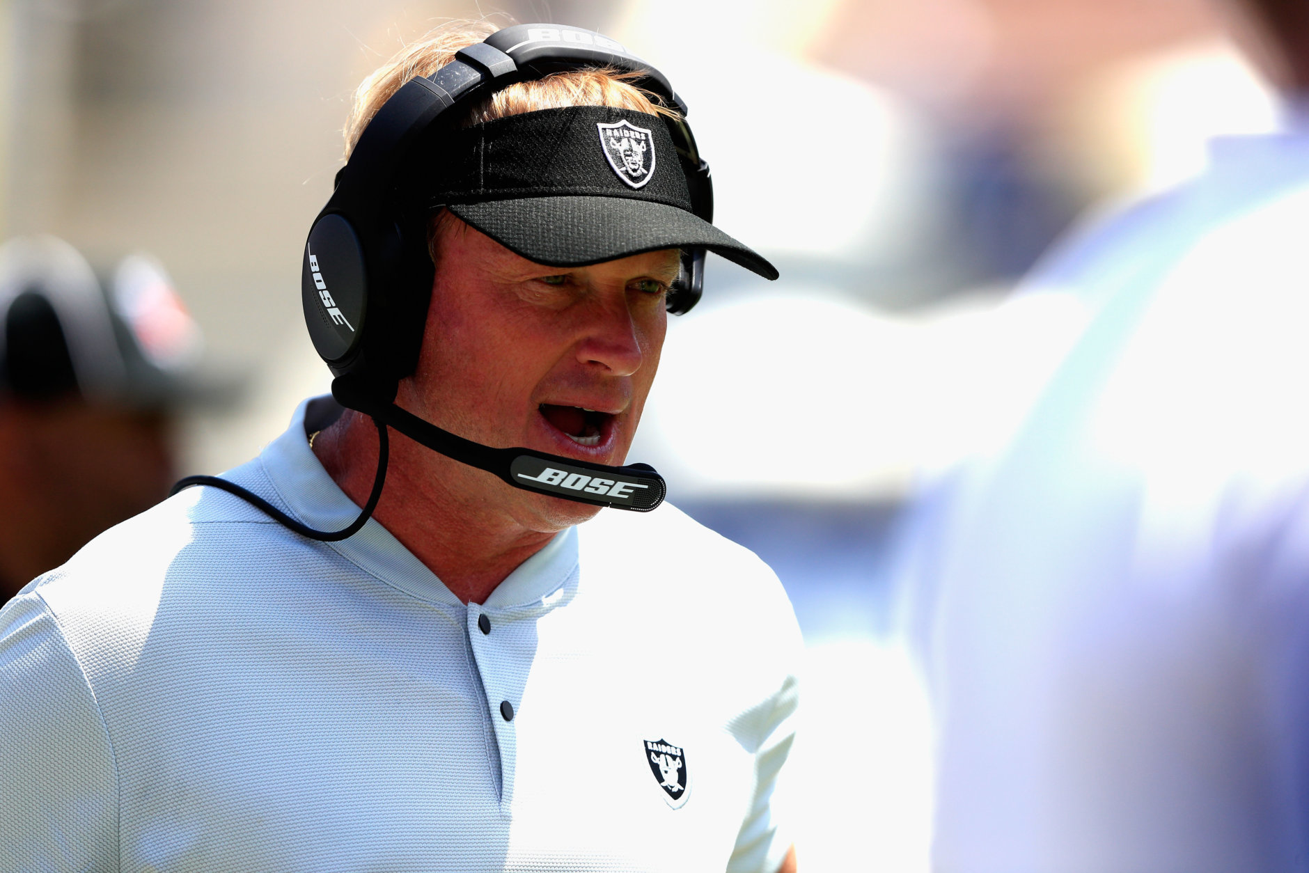 LOS ANGELES, CA - AUGUST 18:  Head coach Jon Gruden of the Oakland Raiders coaches from the sideline during the first half of a preseason game against the Los Angeles Rams at Los Angeles Memorial Coliseum on August 18, 2018 in Los Angeles, California.  (Photo by Sean M. Haffey/Getty Images)