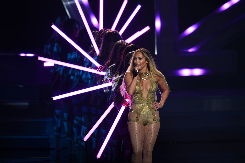 NEW YORK, NY - AUGUST 20:  - AUGUST 20:  Jennifer Lopez performs onstage during the 2018 MTV Video Music Awards at Radio City Music Hall on August 20, 2018 in New York City.  (Photo by Theo Wargo/Getty Images)