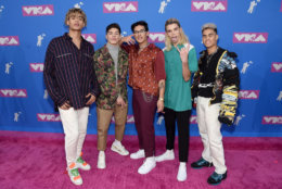 NEW YORK, NY - AUGUST 20:  (L-R) Zion Kuwonu, Nick Mara, Brandon Arreaga, Austin Porter and Edwin Honoret of PRETTYMUCH attend the 2018 MTV Video Music Awards at Radio City Music Hall on August 20, 2018 in New York City.  (Photo by Jamie McCarthy/Getty Images)