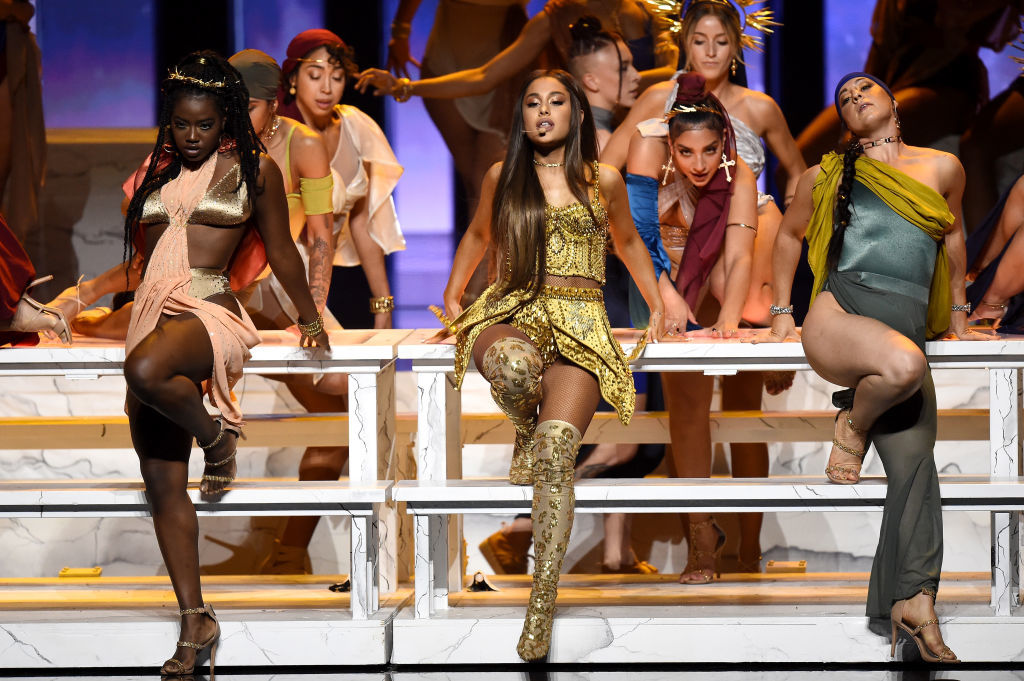 NEW YORK, NY - AUGUST 20:  Ariana Grande performs onstage during the 2018 MTV Video Music Awards at Radio City Music Hall on August 20, 2018 in New York City.  (Photo by Michael Loccisano/Getty Images for MTV)