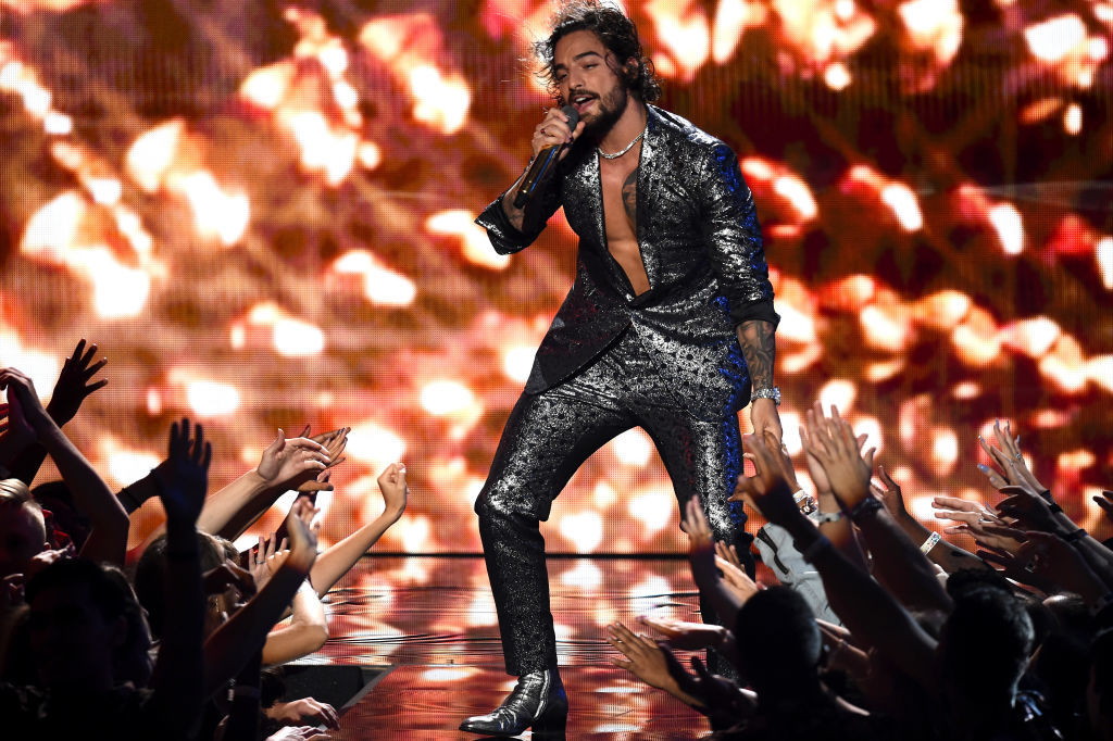 Maluma performs onstage during the 2018 MTV Video Music Awards at Radio City Music Hall on August 20, 2018 in New York City.