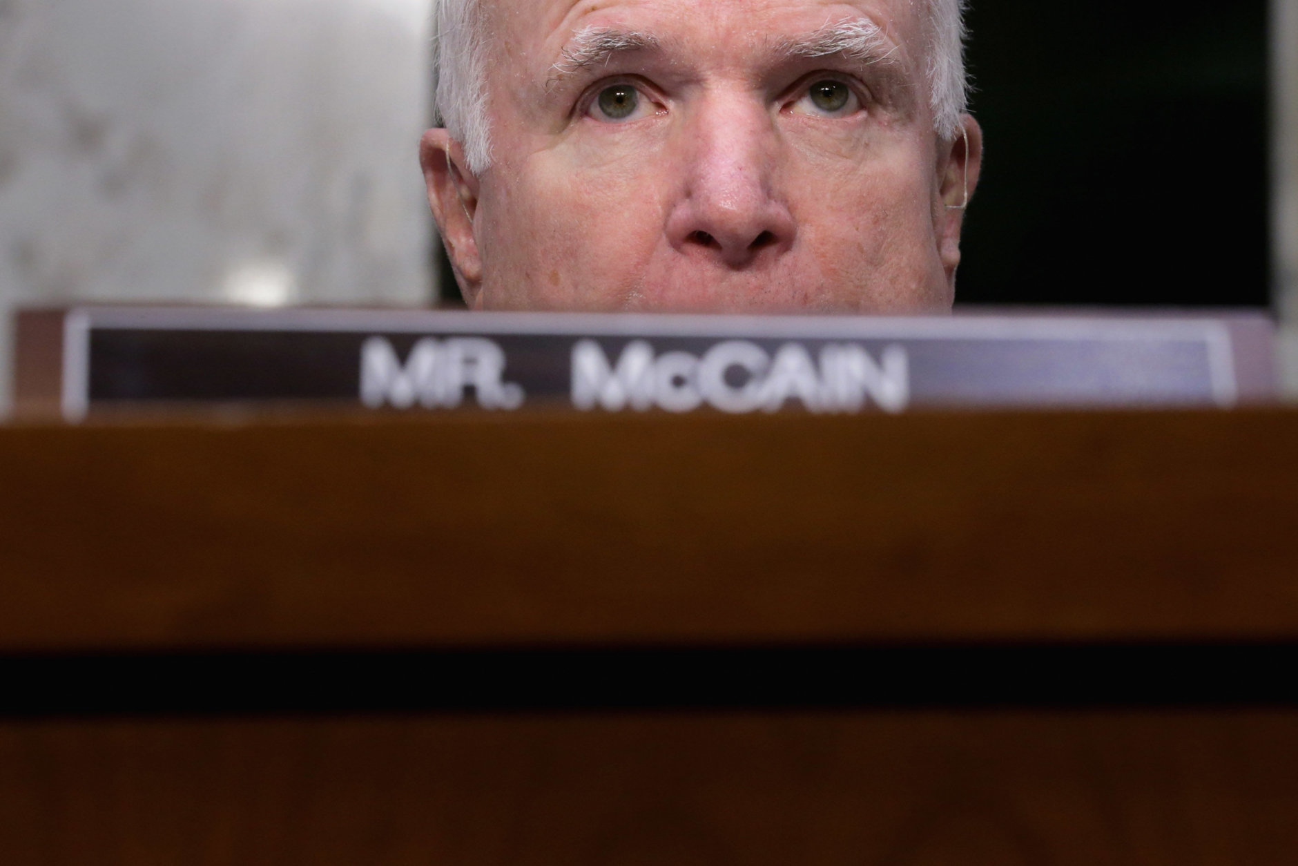 """Senate Armed Services Committee Chairman Sen. John McCain (R-AZ) delivers an opening statement before hearing testimony from U.S. Cyber Command head and NSA Director Navy Adm. Michael Rogers in the Hart Senate Office Building on Capitol Hill April 5, 2016 in Washington, DC. When asked by McCain if Russia has the capability to inflict harm on the United States' cyber infrastructure, Rogers replied, """"Yes.""""  (Photo by Chip Somodevilla/Getty Images)"""