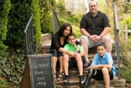 Mathias Giordano, right, pictured with his family, which created a foundation in his honor. The 13-year-old died after battling bone cancer. (Courtesy Roya Giordano )