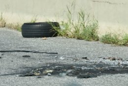 Tires, tire tread and wheel components are the most common form of highway debris in the D.C. region according to records kept by the WTOP Traffic Center. (WTOP/Dave Dildine)