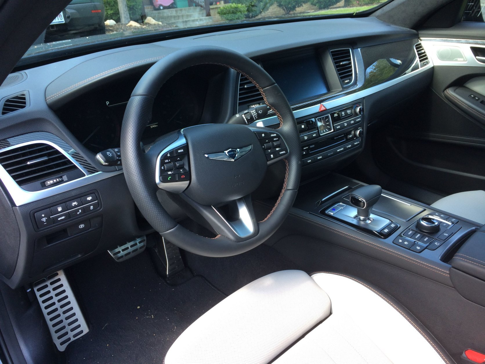 The Genesis G80 Sport's cabin materials are top notch with carbon fiber and aluminum trim that really improve its look and feel. (WTOP/Mike Parris)