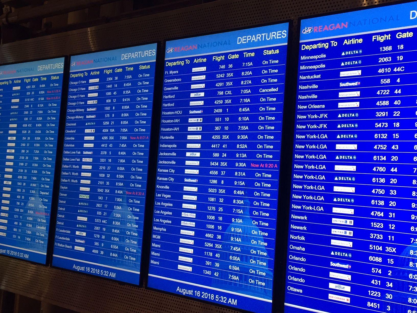 Reagan National Airport departures board at 5:30 a.m.