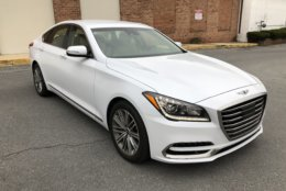On the new Genesis G80, its 18-inch wheels look a bit out of place. (WTOP/Mike Parrish)