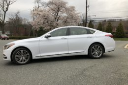 The new Genesis G80, has been designed to have a long hood and short trunk. (WTOP/Mike Parrish)