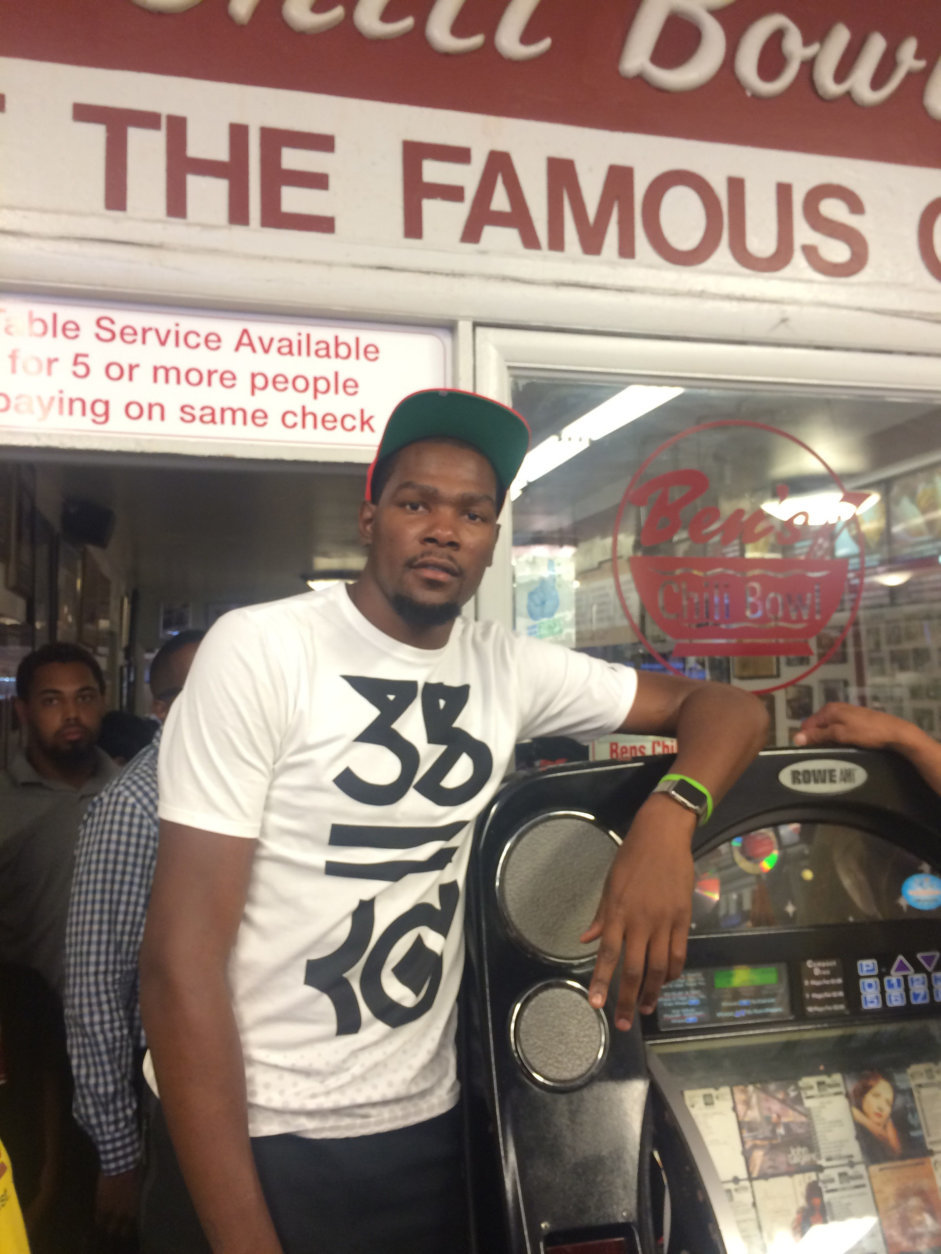 Basketball star Kevin Durant, a Prince George's County native, at Ben's. (Courtesy of Ben's Chili Bowl)