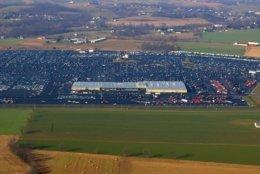 An aerial view of the massive Manheim, Pennsylvania, auto auction facility. (Courtesy Manheim)