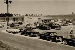 A vintage photo of the massive Manheim, Pennsylvania, auto auction facility It was established in 1945. (Courtesy Manheim)