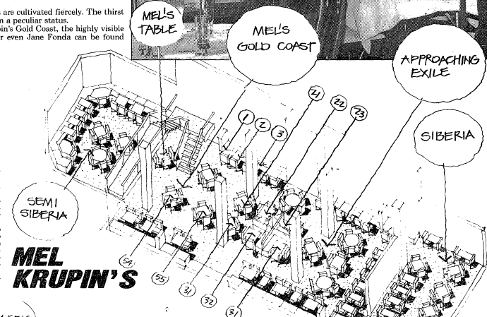 Mel's joint even had its own choice (and less-than-choice) seating areas, as mapped by The Washington Post in a 1988 feature. (Courtesy The Washington Post)