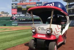 The bullpen cart at Nationals Park at its unveiling Friday. (WTOP/Michelle Basch)