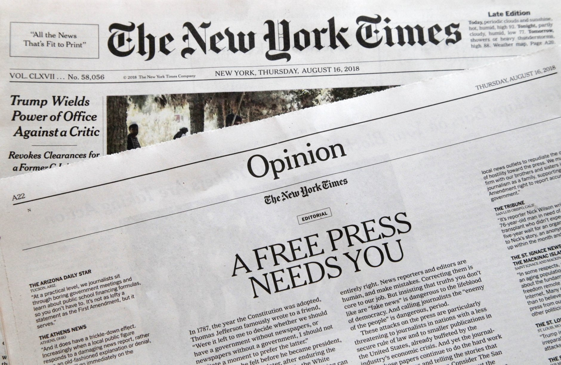 "An editorial titled ""A Free Press Needs You"" is published in The New York Times, Thursday, Aug. 16, 2018, in New York. Newspapers from Maine to Hawaii pushed back against President Donald Trump's attacks on ""fake news"" Thursday with a coordinated series of editorials speaking up for a free and vigorous press. The Boston Globe, which set the campaign in motion by urging the unified voice, had estimated that some 350 newspapers would participate. (AP Photo/Mark Lennihan)"
